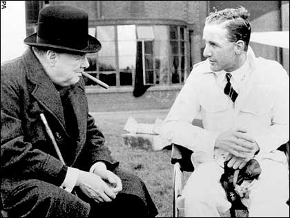Alex Henshaw chatting with prime minister Winston Churchill about the